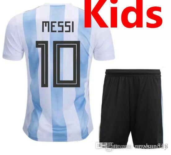 2019 2018 World Cup Top Argentina Soccer Jersey Kids Kit 2018 Argentina Home  White Soccer Jerseys MESSI Child Soccer Shirts Uniform Jersey+Shorts From  ... 9c400c00e