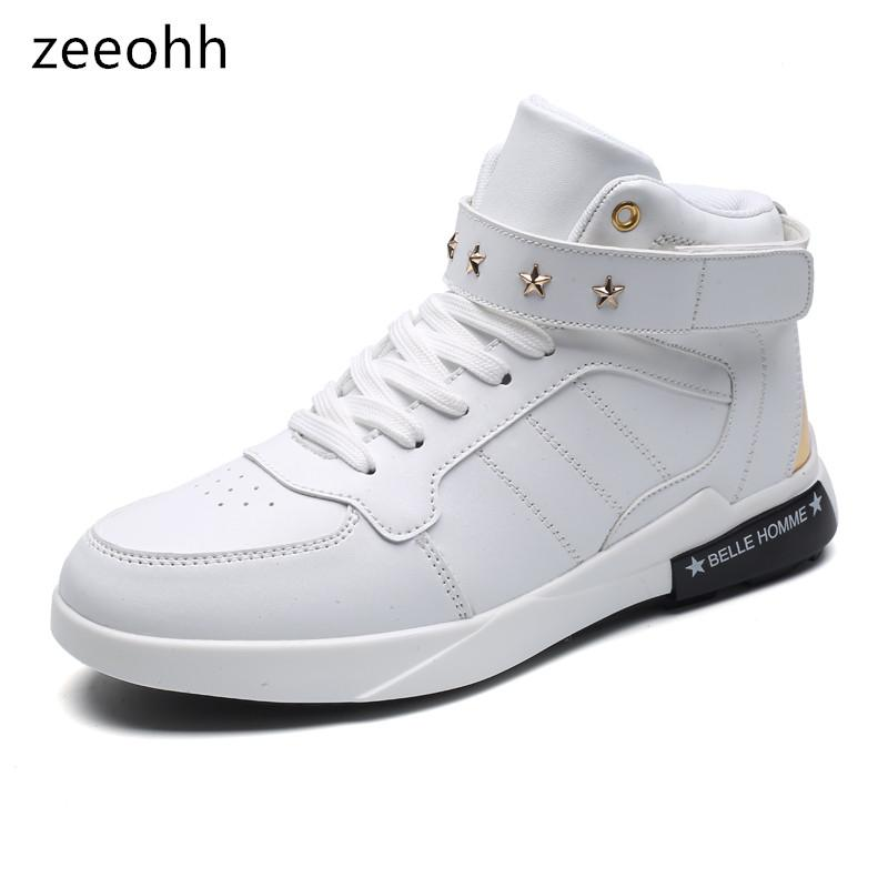 4052668ec0b7 Zeeohh 2018 Big Size 45 46 Men S Botas Spring Autumn Mens High Top Star  Ankle Sneakers Increase Breathable Lace Up Male Shoes Summer Shoes Best  Shoes From ...
