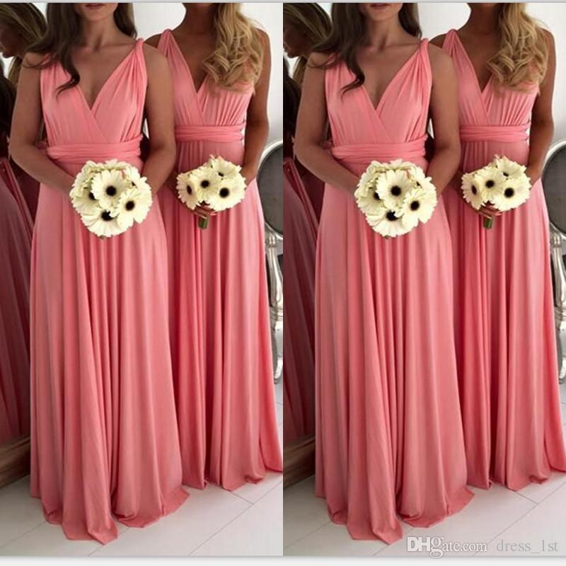 Elegant 2018 Coral Chiffon Bridesmaid Dresses Long Cheap V Neck ...