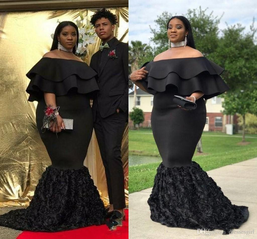 c90500468083 Plus Size African Prom Dresses 2018 Black Satin Off Shoulder Ruched Hand  Made Flowers Mermaid Formal Evening Gowns Formal Dresses For Women Long Prom  ...