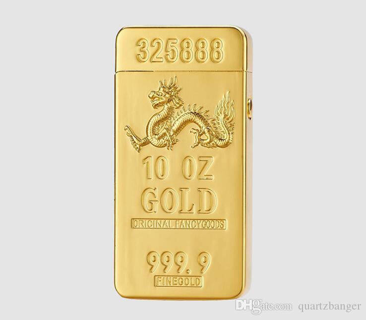 Tijolo do ouro Duplo Usb Arc Isqueiro Eletrônico Elétrico Recarregável pulso Isqueiros 5 Estilos de Caixa de Presente Para Fumar Ferramentas Acessórios