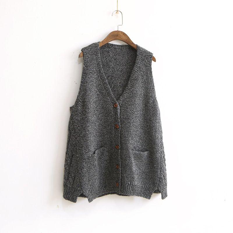 df8ea97056 2019 267 2028 Korean Vintage Retro New Women S V Neck Sleeveless Knitting  Vest Sweater Cardigan From Longmian