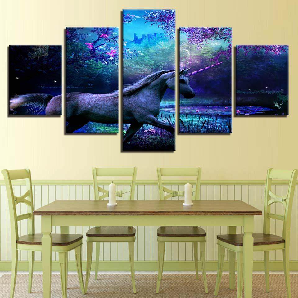 2018 Canvas Prints Posters Living Room Wall Art Animal Horse Scenery Paintings Modular Abstract Unicorn Pictures Home Decor From Z793737893 889