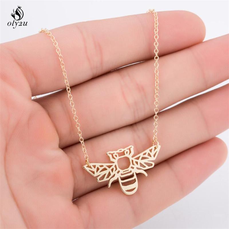 Großhandel Oly2u Origami Biene Halskette Bug Charme Weibliche Und