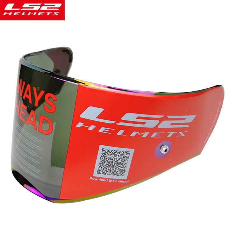 00c1347c Original LS2 FF390 Breaker Chrome Plated Helmet Lens Transparent Silver  Rainbow Smoke Rainbow Visor Anti Fog Pinlock Holes Sport Motorcycle Helmets  ...