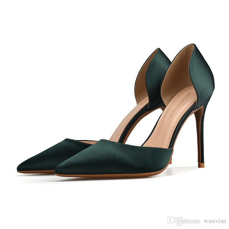on sale d57a8 226f6 Stilista di moda Tacchi neri di seta per scarpe eleganti da donna Décolleté  a punta con tacco alto Tacchi a spillo Taglie forti Sandali a quattro ...