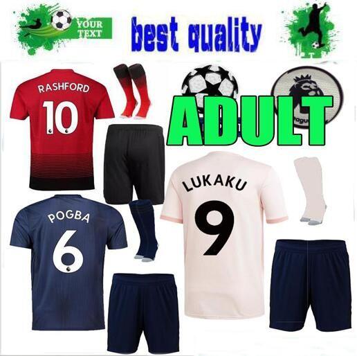 a3393e438 Adult Kit MANCHESTER UNITED 18 19 ALEXIS LUKAKU Soccer Jersey Full ...