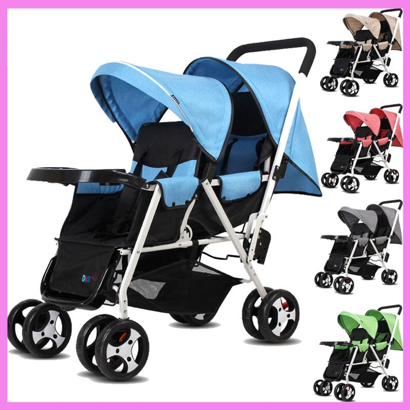 2019 Can Sit Lying Twins Baby Stroller Lightweight Pram Folding
