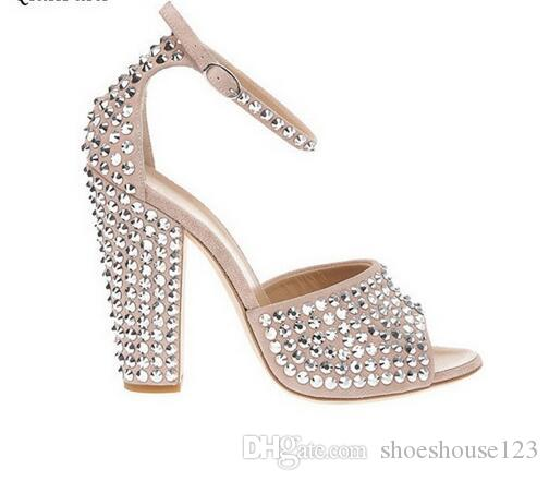 2256308c1878a1 Silver Studded Rivets Block Heels Women Sandals Beige Ankle Buckle Strap  Women Pumps Peep Toe High Heels Women Shoes Leather Sandals Wedding Sandals  From ...