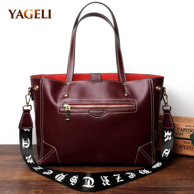 Wholesale 2018 Fashion Genuine Leather Women s Tote Bag Luxury Women s  Leather Shoulder Bags Fashion Design Lady High Capacity Online with   118.39 Piece on ... c3f1584984a04