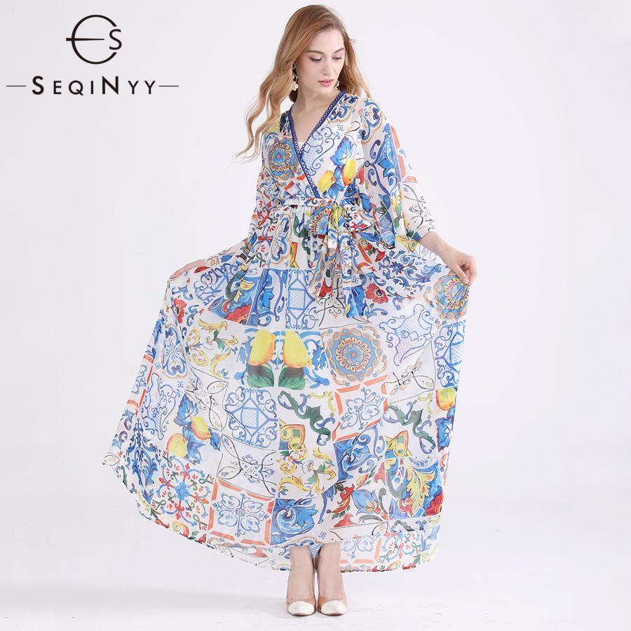 28ba8d084f6 SEQINYY Chiffon Dress 2018 Summer New Women S Plus Size 6XL Flare Sleeve Blue  White Porcelain Flowers Printed Elegant Dress Party Long Dresses For Women  ...