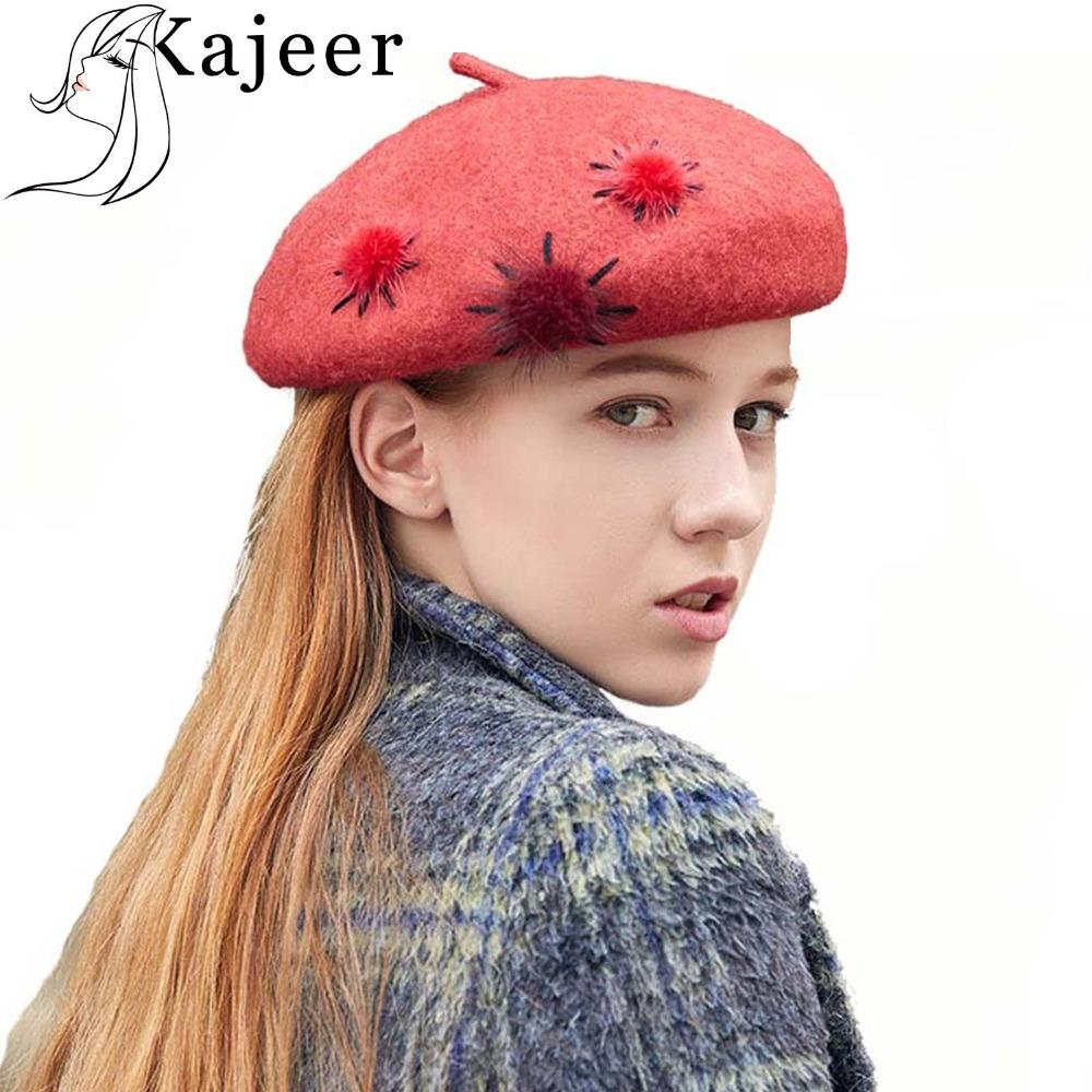 Kajeer Winter Hat Berets Wool Hairball Cashmere Womens Warm Brand ... 4198b7ba7026
