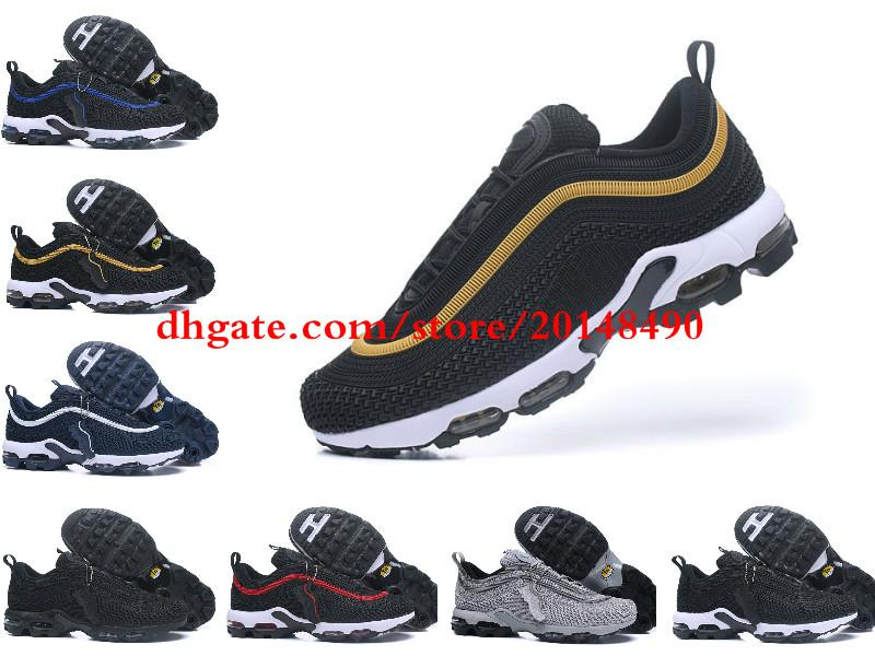 2018 Hot Sale Air Cushion Plus Tn 97 Men Running Shoes For Top Quality  Fashion Drop Plastic Tn Requin Pas Cher Chaussures Size 41 46 Black Running  Shoes ... 35ba979d7