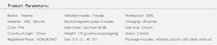 Nalone Yüksek Kaliteli Elektromanyetik Darbe Su geçirmez Masaj Seks Oyuncakları, Kadın Çift Motorlu AV Wand Titreşim Seks Ürünleri