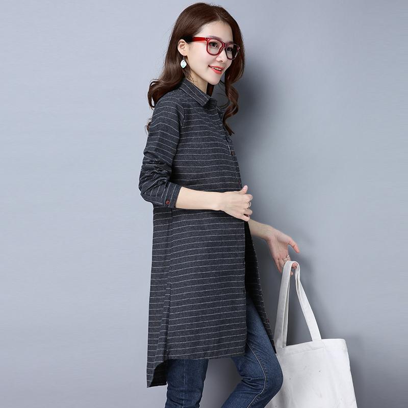 Femmes Chemises 2018 Nouveau Printemps Coton Lin Blouses Chemises Casual Lâche Longue Chemise Plus La Taille À Carreaux Femmes Tops Ropa Mujer