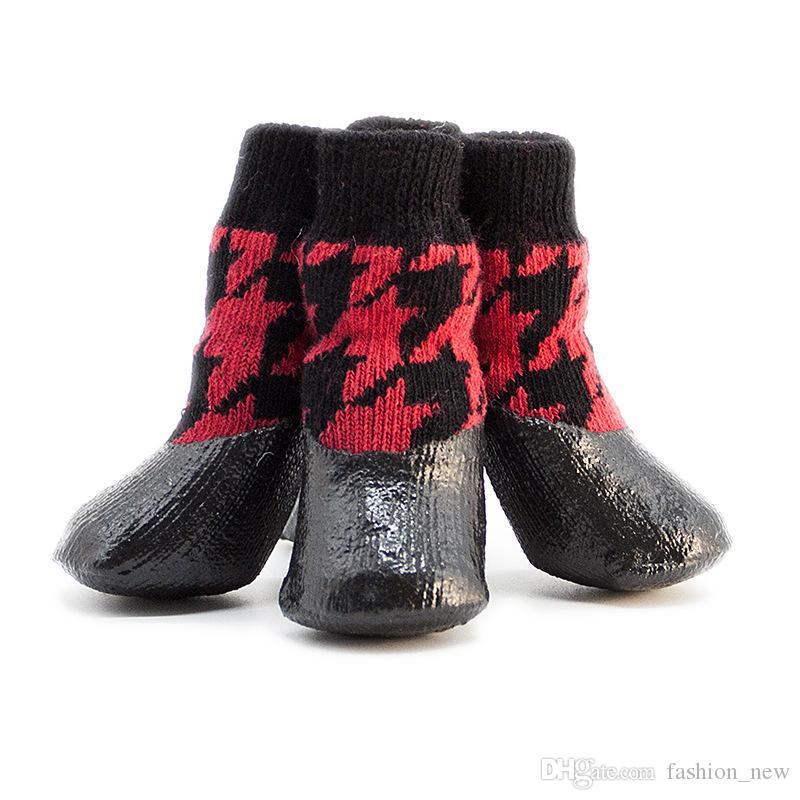 حار بيع كلب أحذية الجوارب المتوسطة الكلب ماء المطر أحذية عدم الانزلاق المطاط جرو أحذية دروبشيبينغ الحرة
