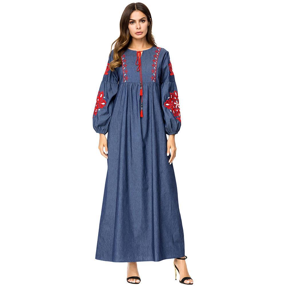 782677e2fc2fe 187304 Korean Style Muslim Women Dresses Autumn Plus Size Embroidery Denim  Dresses Muslin Retro Long Sleeved Women's Dress Gown Abaya Mujer
