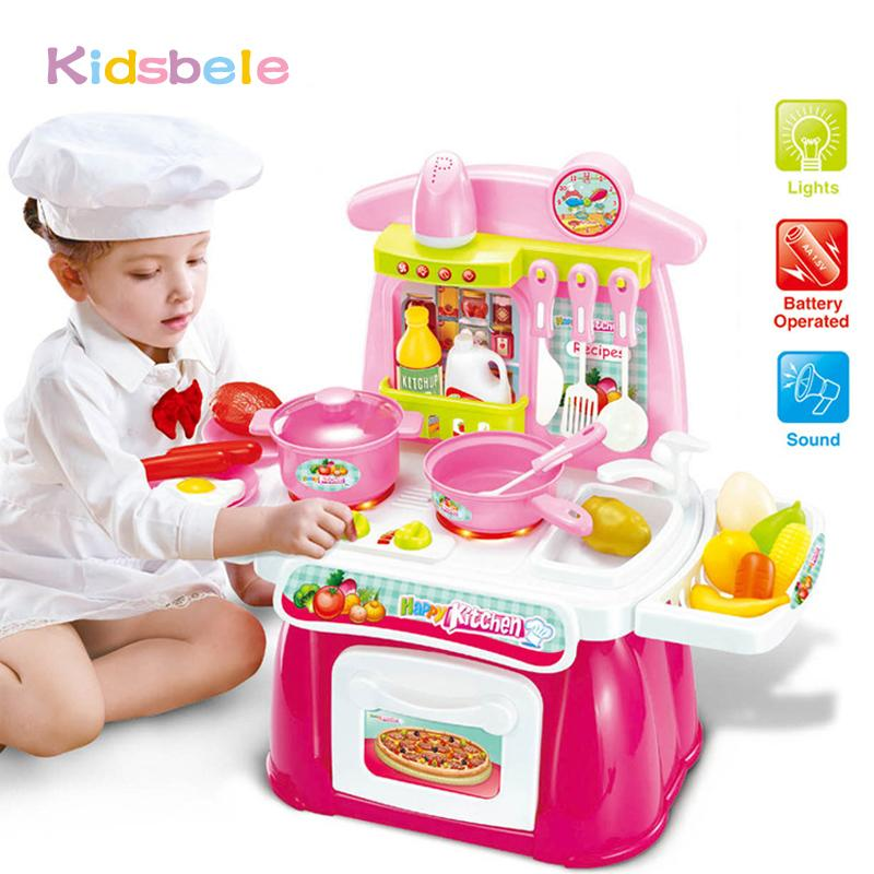 b18d4c57fe9 2019 Children Kitchen Toys Pretended Play Set Electronic Musical Light Toys  Kids Pretend Simulation Mini Cooking Set Gift From Sugarher