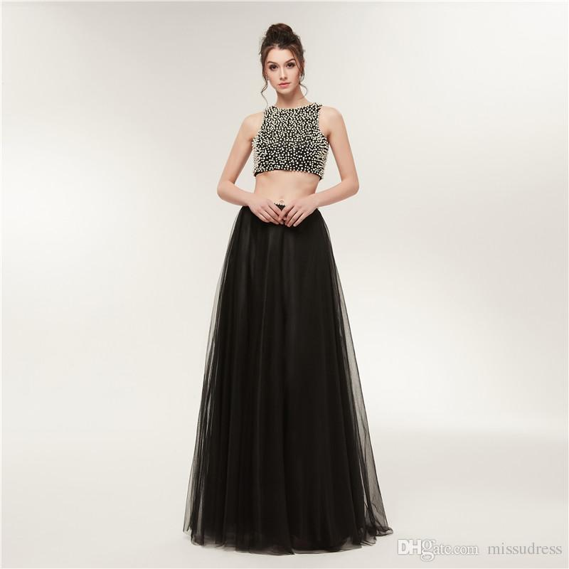 2018 Black Two Pieces Prom Dresses Pearls Sexy Girls Party Prom