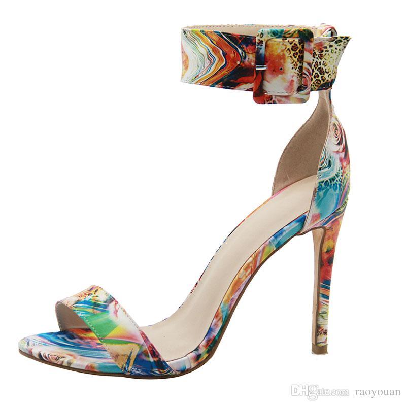 sandalias atractivas de la impresión de los altos talones de la moda para la fiesta de bodas de la boda embroma la boca de los pescados más el tamaño