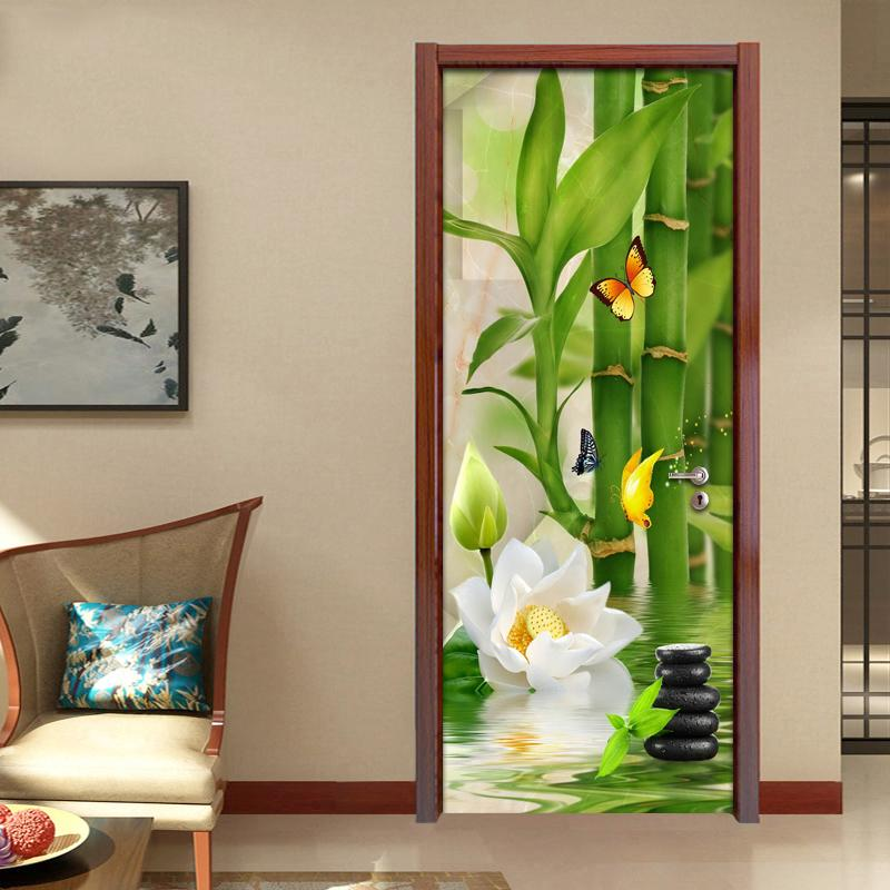 Living Room Bedroom Door Sticker Wall Mural Green Bamboo Lotus