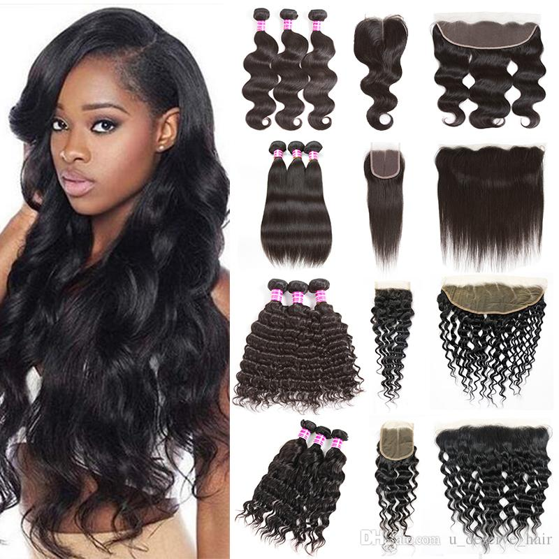 2019 Peruvian Hair Bundles With Closure Straight Body Wave Hair