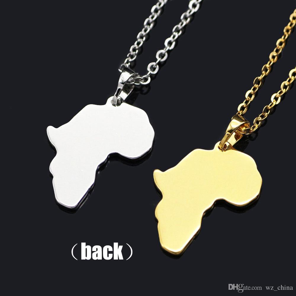 24 K chapado en oro collar hip hop mapa africano collar colgante para hombres y mujeres joyería de la boda caliente