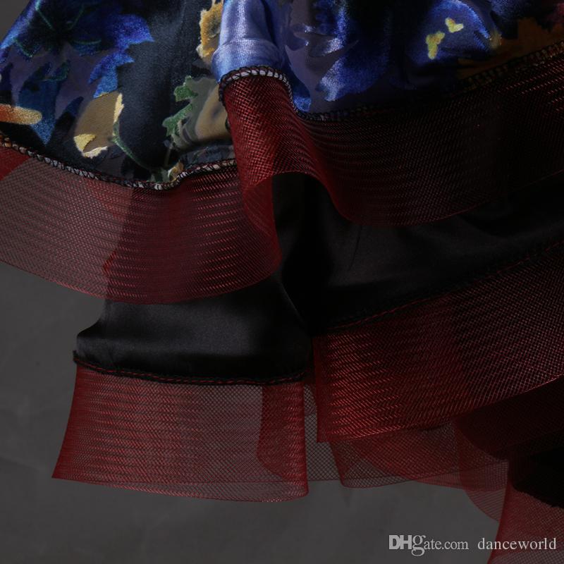Adulto / Niño Falda de baile latino para la venta Imprimir Flores Salón de baile latino Vestidos Sexo Vestido De Baile Latino Competencia Latina Dancewear