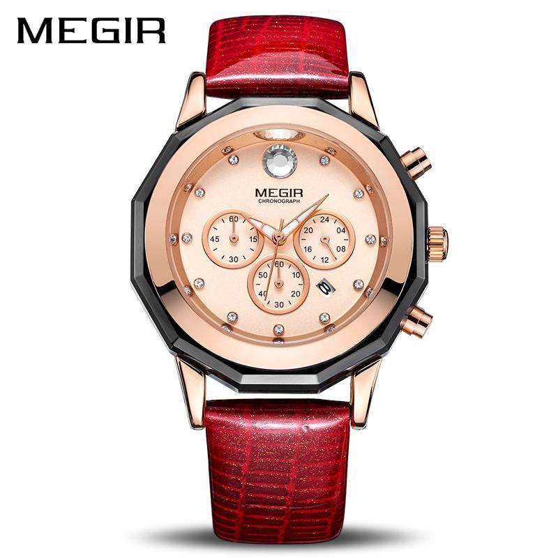689690c3a4b Compre New Megir Mulheres Relógios De Moda Luminosa De Couro De Quartzo Das Senhoras  Relógio De Pulso Relógio Montre Femme Para Os Amantes Do Sexo Feminino ...