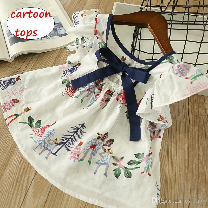 effd1123664e Girl Cartoon Tops Kids Animal Flower Print Shirt Children Summer ...