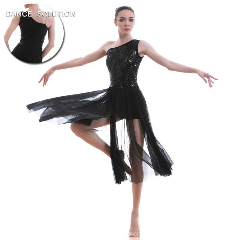 d1549748b 2019 Adult Ballet, Lyrical, Contemporary Dance Costume Black Sequin Lace  And Long Mesh Dancing Dress 17311 From Weikelai, $77.71 | DHgate.Com