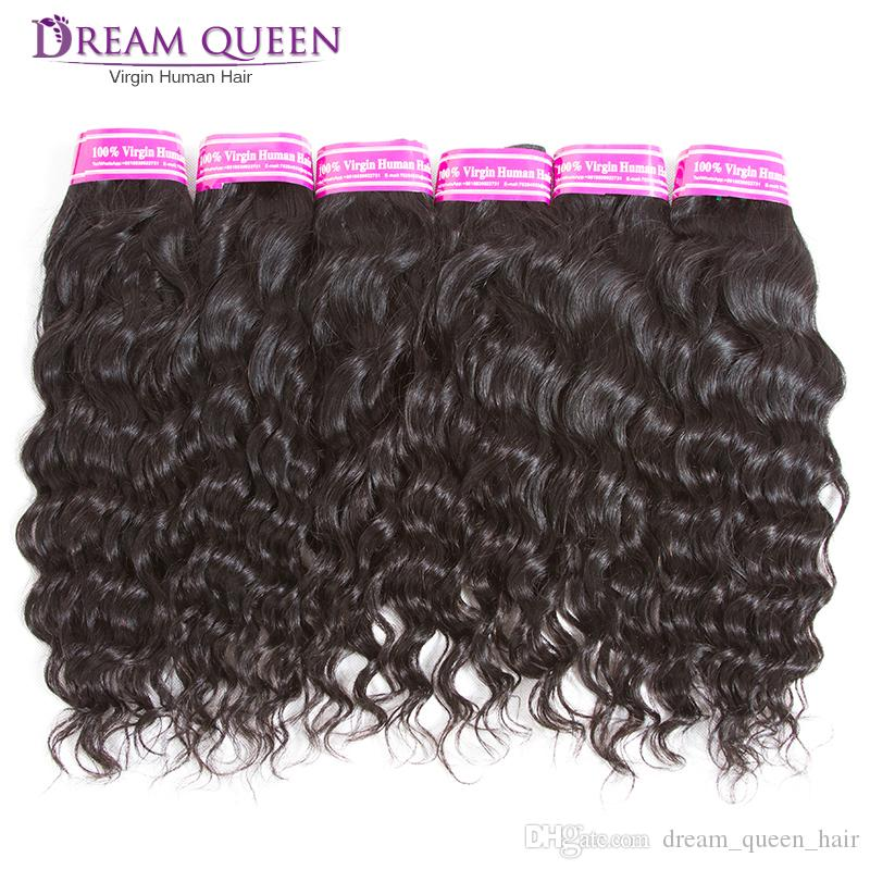 6 Bundles Brazilian Deep Water Wave Virgin Human Hair Weaves Wefts Malaysian Peruvian Kinky Curly Remy Hair Extensions bundles Deals