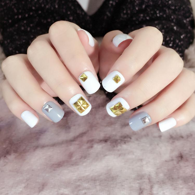 Classical Rivets False Bails With Designs White Grey Short Square