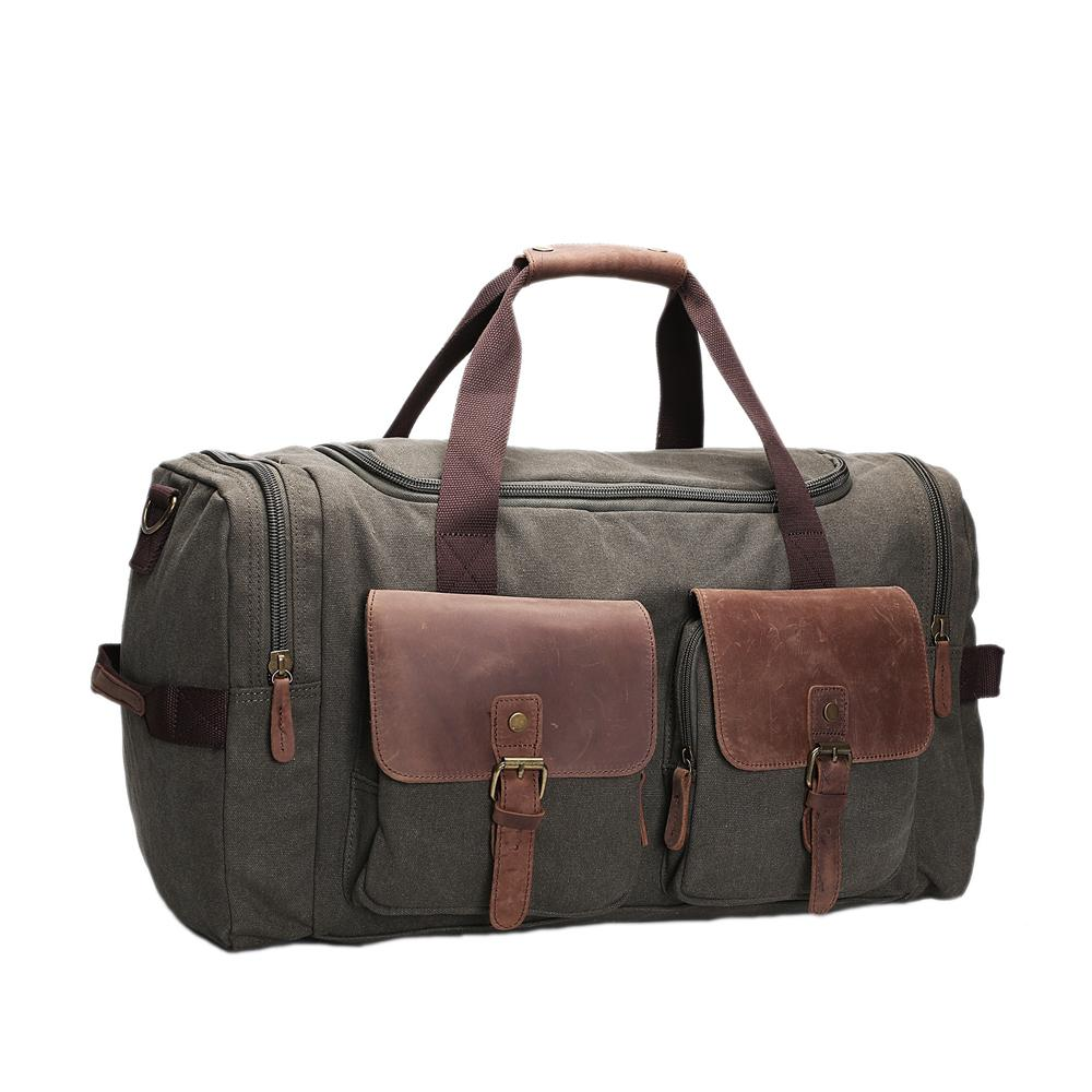 ROCKCOW Canvas Leather Men Travel Bags Carry on Luggage Bags Men ... 0f6ad9f836