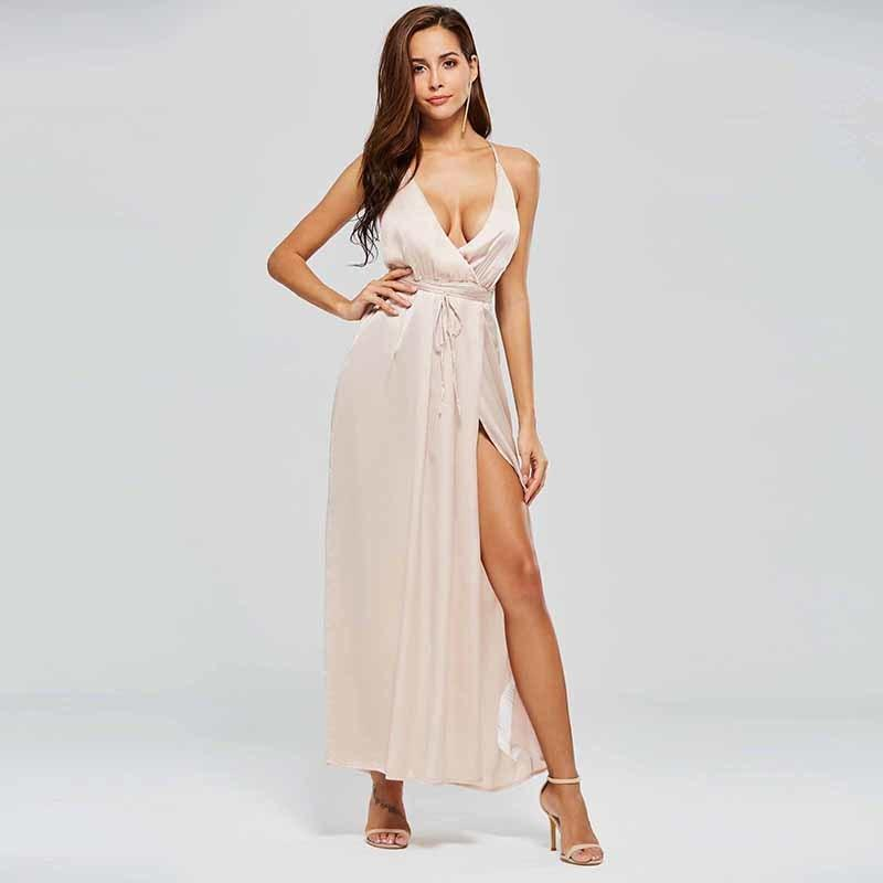 3b2b100374 Sexy Satin Casual Maxi Dresses Women 2019 New Fashion Expansion V Neck  Backless Bandage Champagne Girls Loose Elegant Long Dress Casual Evening  Dress ...