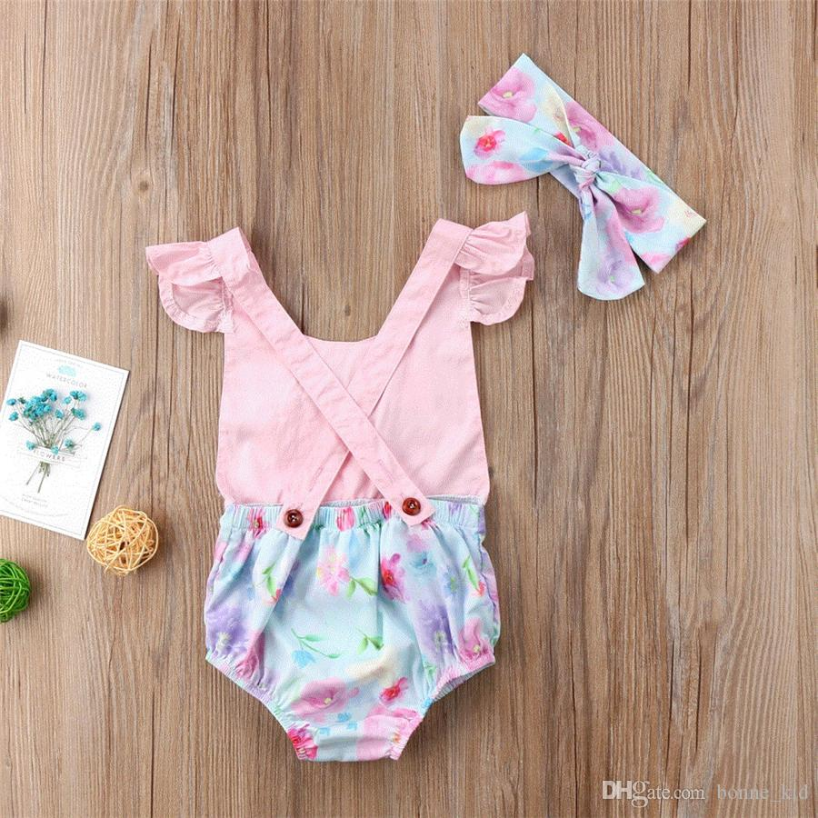 Summer baby girl onesies wiith headband rabbit romper jumpsuit outfit kid clothing girls lovely floral animal pink bodysuit sunsuit 0-24M