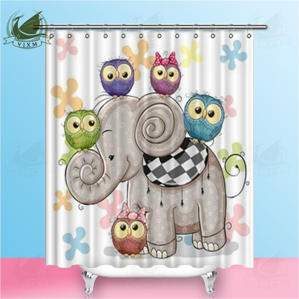 2019 Vixm Home Cute Cartoon Elephant Fabric Shower Curtain Five Owls And Flowers Bath For Bathroom With Hook Rings 72 X From Bestory