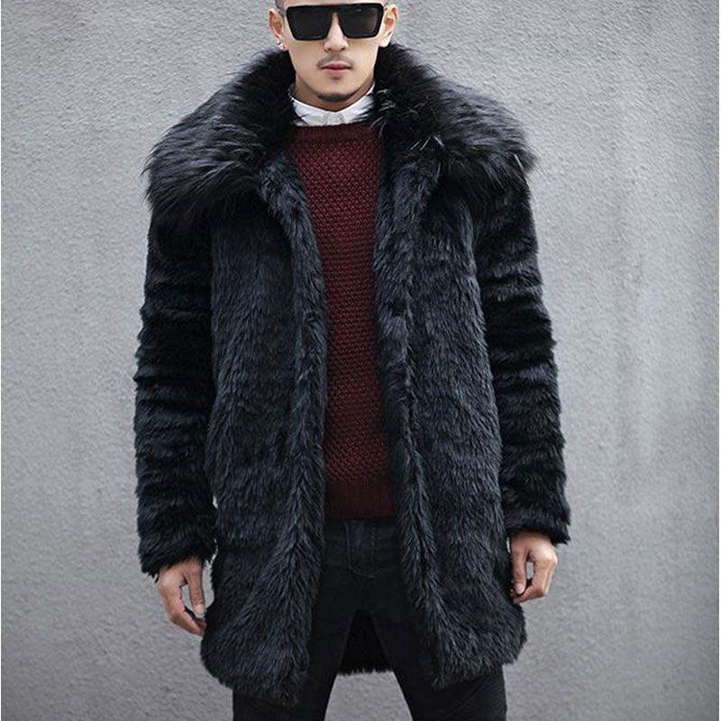 a62e48f601 2019 Wholesale 2016 New Winter Men Fox Fur Collar Faux Rabbit Fur Coats,Turn  Down Collar Trends Fur Jacket Black Long Section Fashion Overcoats From  Hiem, ...