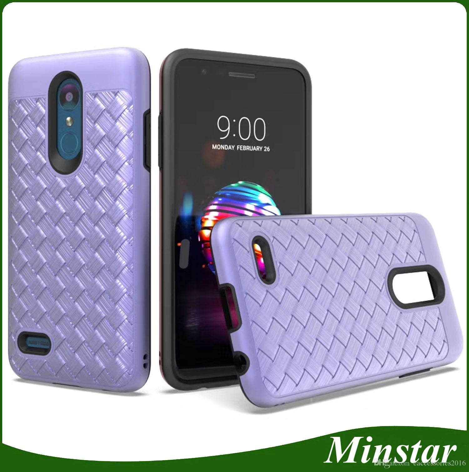 Hot In Dual Layers Case for LG Stylo 4 Q Stylus K10 2018 K30 Stylo 3 Plus  Boost Mobile Metro Pcs Top Quality Elegent Woven Cover Hybird Case