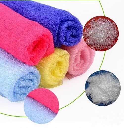 Salle de bains chaude en nylon maille bain corps de douche lavage propre exfolier bouffée de savon éponge serviette éponges