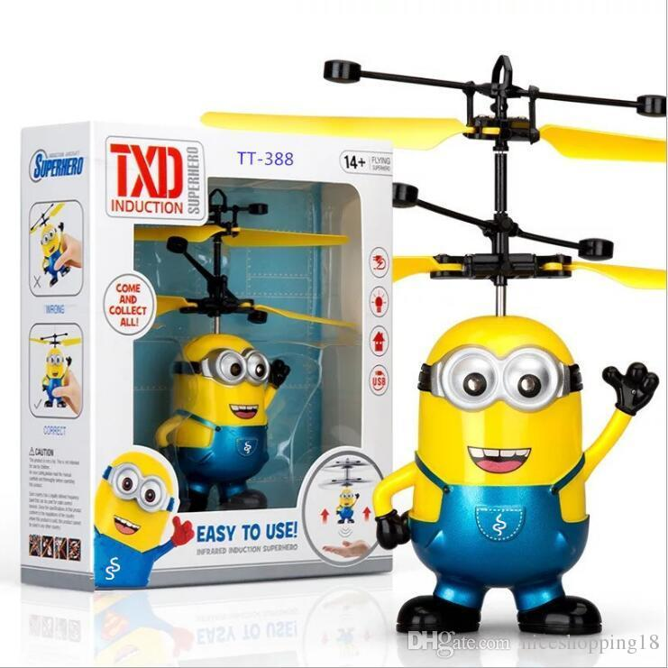 Rc Helicopter Drone Kids Toys Flying Ball Aircraft Led Flashing