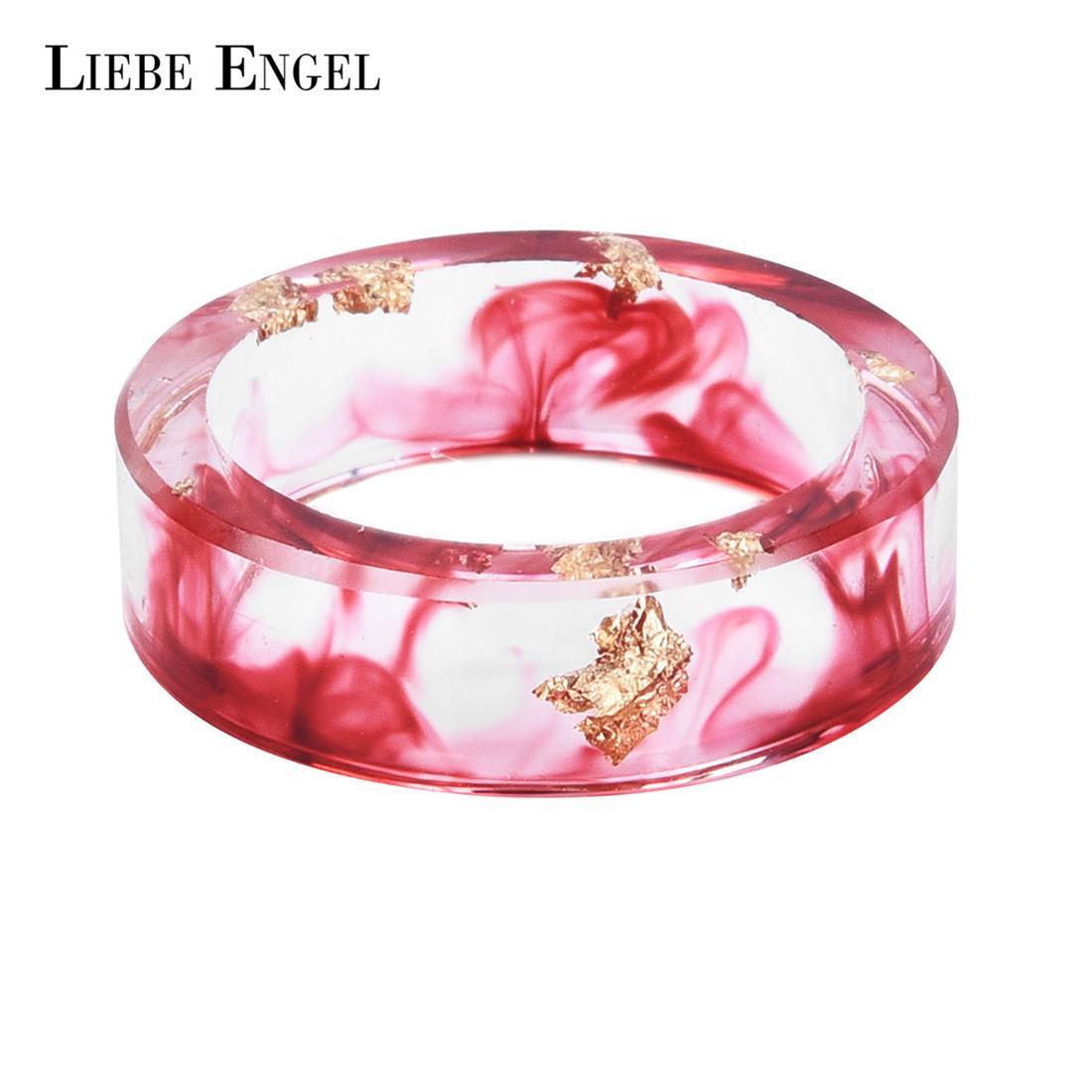 2018 Liebe Engel Hot Sale Gold Foil Paper Inside Resin Ring For ...