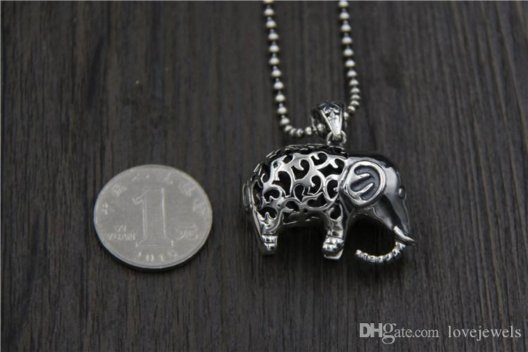 hip hop jewelry 925 sterling silver elephant pendant Vintage marcasite ladies hollow elephant sweater chain necklace pendant china goods