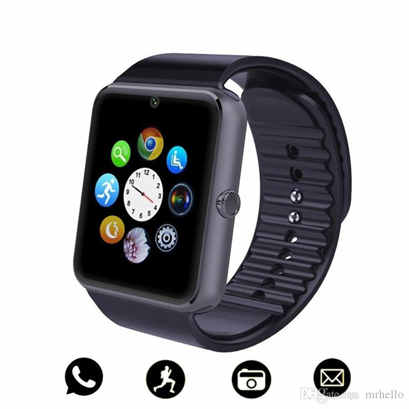 GT08 Bluetooth Smart Watch uomini con touch screen grande supporto per batteria TF Card SIM per IOS iPhone Android Phone