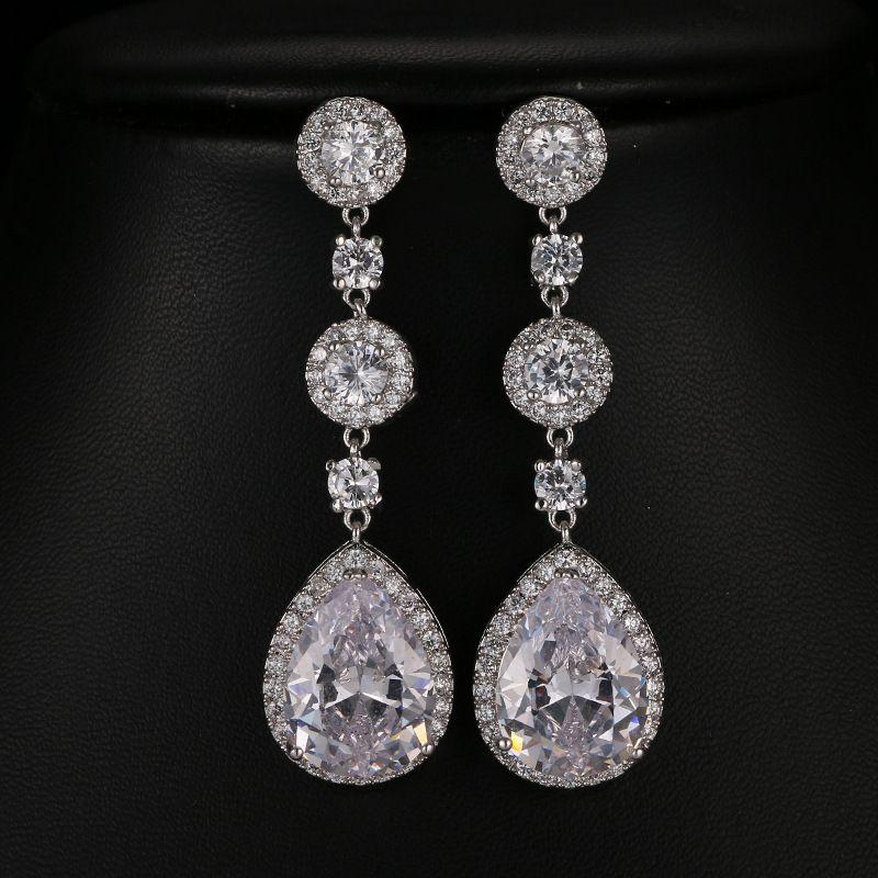 Gorgeous Rose Gold Pave Setting AAA Grade Cubic Zirconia Earring Dangle  Bridal Wedding CZ Earrings Girls Fashion Daily Earring UK 2019 From ... c470131cc3