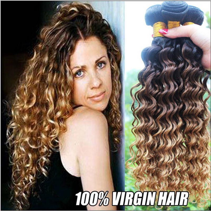 Ombre 3 Tone Brazilian Hair Deep Wave Ombre Brazilian Hair Weave
