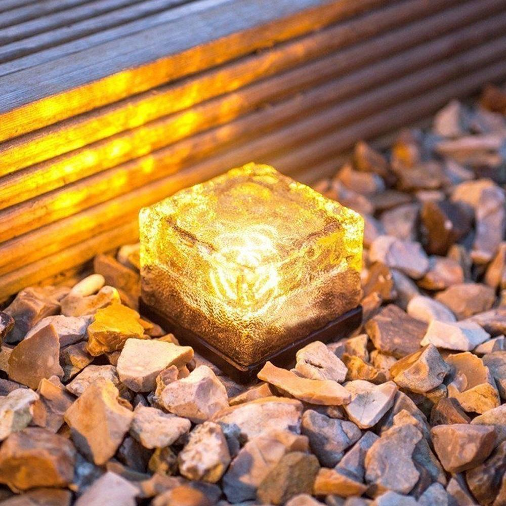 LED Solar Garden Sepolto Light Brick Rock Lamp Impermeabile Crystal Brick Glass Stone Underground Lamps Outdoor Path Lights