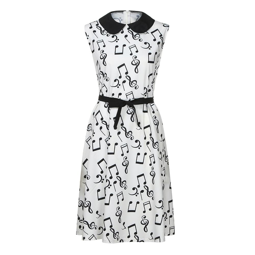 507b4f78e4f 2019 FEITONG 2018 New Plus Size Musical Note Print Women Vintage Retro Midi  Dress Sleeveless White Female Casual Music Swing Dresses From Vanilla15