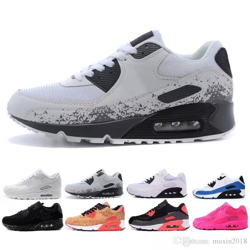 size 40 ee13a ed906 Compre Nike Air Max 90 Airmax Hombres Zapatos Para Mujer Clásico 90 Hombres  Y Mujeres Zapatos Para Correr Negro Blanco Entrenador Deportivo Cojín De  Aire ...