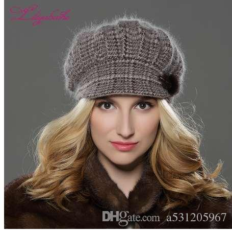 940ca048766 LILIYABAIHE NEW Style Women Winter Hat Brim Hat Knitted Wool Angora Hat  Geometric Mink Flower Decoration Cap Double Warm Hoodies Beanies From  A531205967